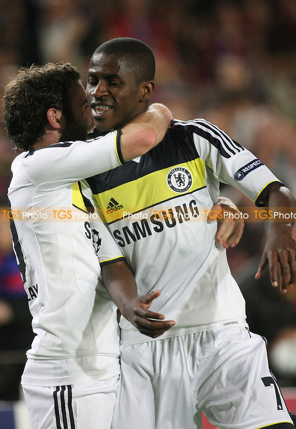 Juan Mata celebrates with first Chelsea goalscorer Ramires -  Barcelona vs Chelsea at the Nou Camp Stadium - 24/04/12 - MANDATORY CREDIT: Dave Simpson/TGSPHOTO - Self billing applies where appropriate - 0845 094 6026 - contact@tgsphoto.co.uk - NO UNPAID USE.