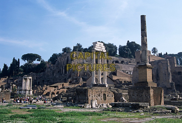 Corinthian columns of the Temple of Castor and Pollux, and the Temple of Vesta, the Forum, Rome, Italy
