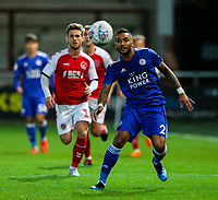 Leicester City U21s' Danny Simpson can't reach a pass<br /> <br /> Photographer Alex Dodd/CameraSport<br /> <br /> The EFL Checkatrade Trophy - Northern Group B - Fleetwood Town v Leicester City U21 - Tuesday September 11th 2018 - Highbury Stadium - Fleetwood<br />  <br /> World Copyright &copy; 2018 CameraSport. All rights reserved. 43 Linden Ave. Countesthorpe. Leicester. England. LE8 5PG - Tel: +44 (0) 116 277 4147 - admin@camerasport.com - www.camerasport.com