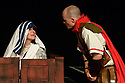 "Edinburgh, UK. 31.07.2017. Parallax Theatre pesents ""The Last Days of Judas Iscariot"", in the Pleasance Beyond, as part of Edinburgh Festival Fringe. Picture shows: Emma Wyverne (Mother Theresa), Dave Morgan (Bailiff). Photograph © Jane Hobson."