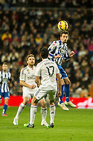 Real Madrid´s Alvaro Arbeloa and Deportivo de la Coruna's Albert Lopo during 2014-15 La Liga match between Real Madrid and Deportivo de la Coruna at Santiago Bernabeu stadium in Madrid, Spain. February 14, 2015. (ALTERPHOTOS/Luis Fernandez) /NORTEphoto.com