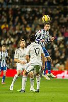 Real Madrid´s Alvaro Arbeloa and Deportivo de la Coruna's Albert Lopo during 2014-15 La Liga match between Real Madrid and Deportivo de la Coruna at Santiago Bernabeu stadium in Madrid, Spain. February 14, 2015. (ALTERPHOTOS/Luis Fernandez) /NORTEphoto.com