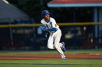 Maikel Garcia (2) of the Burlington Royals takes off for second base during the game against the Pulaski Yankees at Burlington Athletic Stadium on August 25, 2019 in Burlington, North Carolina. The Yankees defeated the Royals 3-0. (Brian Westerholt/Four Seam Images)