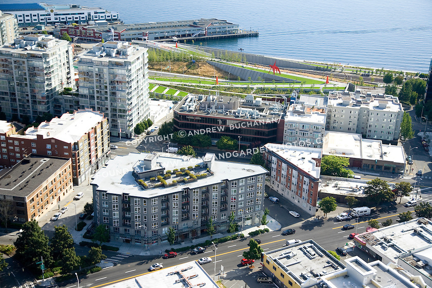 A sunny, summer afternoon aerial photo of Seattle, Washington's Belltown / Denny Triangle neighborhood showing condo rooftops, the Seattle Art Museum's Olympic Sculpture Park behind, and the shoreline of Elliott Bay.