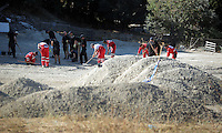 Pictured: Forensics officers searching at the farmhouse site in Kos, Greece. Sunday 09 October 2016<br />
