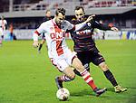 2016-01-30 / Voetbal / Seizoen 2015-2016 / R. Antwerp FC - KSK Heist / Mathieu Cornet (l. Antwerp) met Nick Van Asch<br /> <br /> Foto: Mpics.be