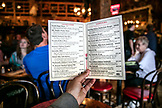 USA, Alaska, Juneau, a view of the menu at the Red Dog Saloon in downtown Juneau