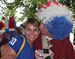 23 June 2006: A France fan kisses another. Togo played France at the RheinEnergie Stadion in Cologne, Germany in match 45, a Group G first round game, of the 2006 FIFA World Cup.