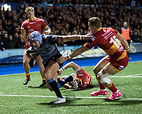 Cardiff Blues' Tom James scores his sides second try<br /> <br /> Photographer Simon King/CameraSport<br /> <br /> Guinness Pro14 Round 6 - Cardiff Blues v Dragons - Friday 6th October 2017 - Cardiff Arms Park - Cardiff<br /> <br /> World Copyright &copy; 2017 CameraSport. All rights reserved. 43 Linden Ave. Countesthorpe. Leicester. England. LE8 5PG - Tel: +44 (0) 116 277 4147 - admin@camerasport.com - www.camerasport.co