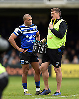 Jonathan Joseph and Stuart Hooper of Bath Rugby. Gallagher Premiership match, between Bath Rugby and Wasps on May 5, 2019 at the Recreation Ground in Bath, England. Photo by: Patrick Khachfe / Onside Images