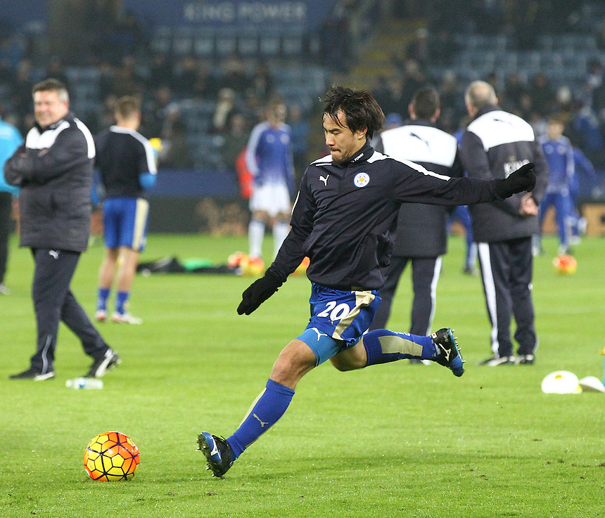 Leicester City's Shinji Okazaki warming up pre match before sitting on the bench for the first half of the game<br /> <br /> Photographer Rachel Holborn/CameraSport<br /> <br /> Football - Barclays Premiership - Leicester City v Chelsea - Monday 14th December 2015 - King Power Stadium - Leicester<br /> <br /> &copy; CameraSport - 43 Linden Ave. Countesthorpe. Leicester. England. LE8 5PG - Tel: +44 (0) 116 277 4147 - admin@camerasport.com - www.camerasport.com