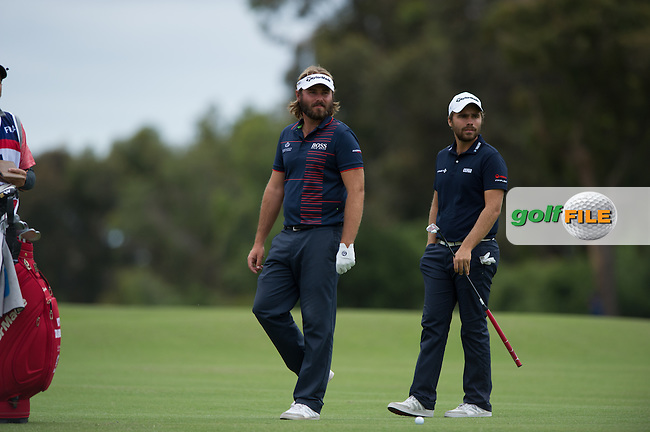 Romain Langasque (FRA), Victor Dubuisson (FRA) during the final round at the ISPS Handa World Cup of Golf, from Kingston heath Golf Club, Melbourne Australia. 27/11/2016<br /> Picture: Golffile | Anthony Powter<br /> <br /> <br /> All photo usage must carry mandatory copyright credit (&copy; Golffile | Anthony Powter)