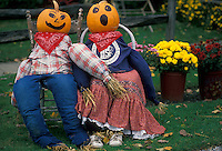 AJ1986, fall, decoration, Vermont, pumpkins, A fall decoration of a scarecrow couple with pumpkinheads are displayed in Montgomery Center.