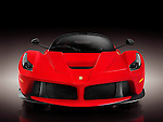 Red 2013 Ferrari F150 LaFerrari supercar sports car front view. Isolated on black background with clipping path.