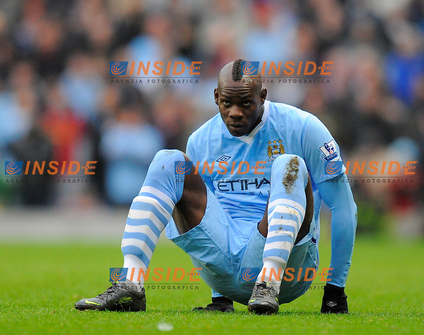 Mario Balotelli of Manchester City.Barclays Premier League.Manchester City v Tottenham at the Eithad Stadium, Manchester 22nd January, 2012..Sportimage +44 7980659747.picturedesk@sportimage.co.uk..Foto Insidefoto.ITALY ONLY
