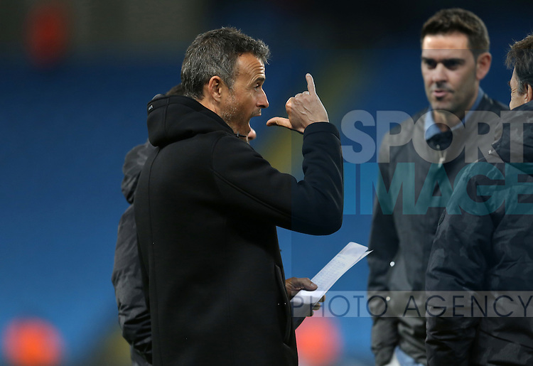 Luis Enrique manager of Barcelona makes a gesture as he reads the team sheet during the Champions League Group C match at the Etihad Stadium, Manchester. Picture date: November 1st, 2016. Pic Simon Bellis/Sportimage