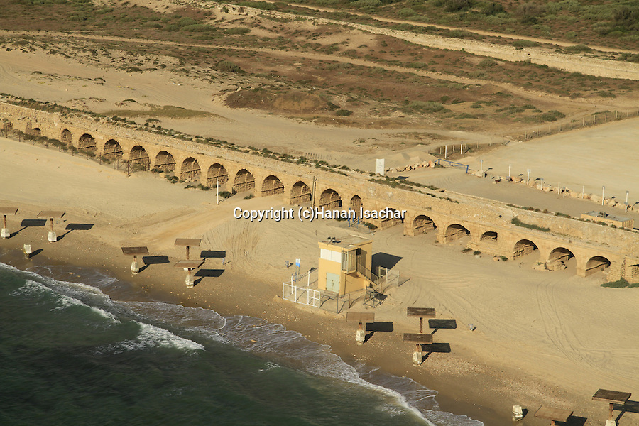 Israel, Sharon region, an aerial view of the Roman Upper Aqueduct In Caesarea