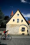 A cyclist rides in Rothenburg ob der tauber, Germany, August 02, 2008. (ALTERPHOTOS/Alvaro Hernandez)