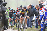 Belgian National Champion Tom Boonen (Omega Pharma-Quick Step) leads Fabian Cancellara (SUI) Radioshack Leopard Trek up the cobbled climb of Paterberg during the 56th edition of the E3 Harelbeke, Belgium, 22nd  March 2013 (Photo by Eoin Clarke 2013)