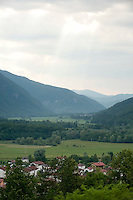 View toward Kobarid from Charnel House War Memorial on Gradič hill, Slovenia