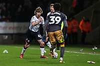 Bolton Wanderers' Luca Connell competing with Sheffield Wednesday's Rolando Aarons <br /> <br /> Photographer Andrew Kearns/CameraSport<br /> <br /> The EFL Sky Bet Championship - Bolton Wanderers v Sheffield Wednesday - Tuesday 12th March 2019 - University of Bolton Stadium - Bolton<br /> <br /> World Copyright © 2019 CameraSport. All rights reserved. 43 Linden Ave. Countesthorpe. Leicester. England. LE8 5PG - Tel: +44 (0) 116 277 4147 - admin@camerasport.com - www.camerasport.com