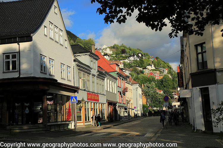 Historic buildings city centre, Kong Oscars gate street, Bergen, Norway
