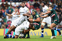 Graham Kitchener of Leicester Tigers is tackled to ground. Aviva Premiership match, between Leicester Tigers and Bath Rugby on September 3, 2017 at Welford Road in Leicester, England. Photo by: Patrick Khachfe / Onside Images
