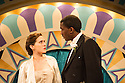 London, UK. 15.05.2013. Ruby in the Dust present HUTCH, a play with music about London's most popular cabaret star of the Jazz Age, at the Riverside Studios. Picture shows:  Imogen Daines (Edwina Mountbatten) and Sheldon Green (Hutch). Photograph © Jane Hobson.