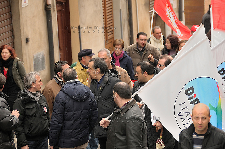 Termini Imerese,Sicily,  strike of workers in Termini Imerese, the seat of one of Fiat factory which is about to close, Leoluca Orlando during the protest.<br /> Termini Imerese sciopero indetto dalla Fiom, Leoluca Orlando partecipa alla manifestazione.