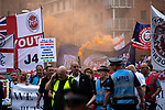 © Joel Goodman - 07973 332324 . 02/06/2018. Manchester, UK. Approximately 1,000 DFLA supporters march through Manchester City Centre . The Democratic Football Lads Alliance demonstrate in Manchester , eleven days after the first anniversary of the Manchester Arena terror attack . Photo credit : Joel Goodman