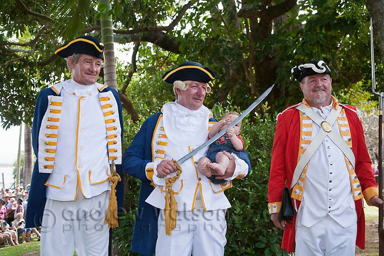 Performers from the Re-enactment of Captain Cook's landing at Cooktown - part of the annual Discovery Festival (held in June).  Cooktown, Queensland, Australia
