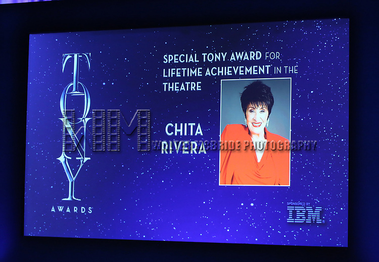Special Tony Award achievement in the Theatre to Chita Rivera mentioned during the 2018 Tony Awards Nominations Announcement at The New York Public Library for the Performing Arts on May 1, 2018 in New York City.