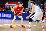 Real Madrid's Luka Doncic and Crvena Zvezda Mts Belgrade's Nemanja Dangubic during Turkish Airlines Euroleague match between Real Madrid and Crvena Zvezda Mts Belgrade at Wizink Center in Madrid, Spain. March 10, 2017. (ALTERPHOTOS/BorjaB.Hojas)