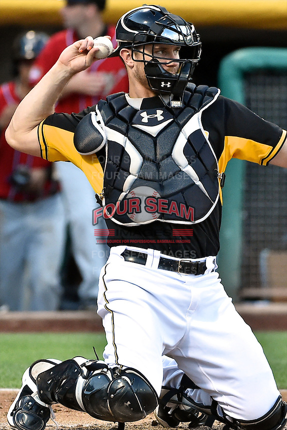 John Hester (22) of the Salt Lake Bees on defense against the El Paso Chihuahuas in Pacific Coast League action at Smith's Ballpark on August 7, 2014 in Salt Lake City, Utah.  (Stephen Smith/Four Seam Images)
