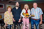 Bridie and Jim O'Connor from Castleisland standing with Alan Connor and Sharon Shannon at the O'Riada's Dinner & Intimate Gig with Sharon Shannon on Friday evening.