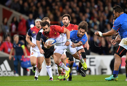12.11.2016. Stadium Toulouse, Toulouse, France. Autumn International rugby match, France versus Samoa.  Yoann Huget (fra) held by Teofilo Paulo (sam)