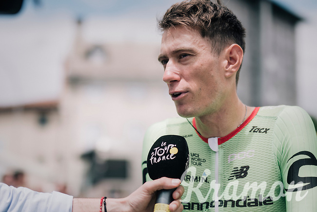 Pierre Rolland (FRA/Cannondale-Drapac) interviewed at the start<br /> <br /> 104th Tour de France 2017<br /> Stage 13 - Saint-Girons &rsaquo; Foix (100km)