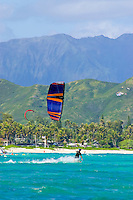 Kite surfer skims the waters of Kailua Bay.