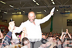 Cllr Danny Healy-Rae celebrates topping the poll at the Kerry County Council Killarney area election count in the Aura Sports Centre in Killarney on Saturday.