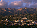 Santa Barbara at sunset with Santa Ynez Mountain Range in background dramatic light Santa Barbara California USA