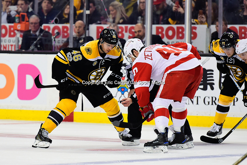 Tuesday, January 24, 2017: Boston Bruins center David Krejci (46) and Detroit Red Wings left wing Henrik Zetterberg (40) wait for the puck to drop during the National Hockey League game between the Detroit Red Wings and the Boston Bruins held at TD Garden, in Boston, Mass. Boston defeats Detroit 4-3 in overtime. Eric Canha/CSM