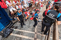 Europe,Spain,Pamplona,San Fermin festival 2018, Encierro, injured boy from the  bulls running helped by the sanitary service
