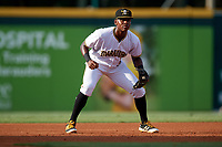 Bradenton Marauders third baseman Ke'Bryan Hayes (31) during a game against the Clearwater Threshers on July 24, 2017 at LECOM Park in Bradenton, Florida.  Bradenton defeated Clearwater 6-3  (Mike Janes/Four Seam Images)