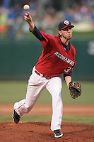 Ross Seaton (30) of the Oklahoma City RedHawks pitching during the Pacific Coast League game against the Round Rock Express at Chickashaw Bricktown Ballpark on June 14, 2013 in Oklahoma City ,Oklahoma.  (William Purnell/Four Seam Images)