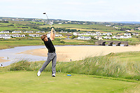 Shaun O'Connor (Luttrellstown Castle) on the 9th tee during Round 3 of The South of Ireland in Lahinch Golf Club on Monday 28th July 2014.<br /> Picture:  Thos Caffrey / www.golffile.ie