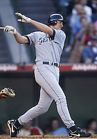 John Olerud of the Seattle Mariners bats during a 2002 MLB season game against the Los Angeles Angels at Angel Stadium, in Los Angeles, California. (Larry Goren/Four Seam Images)
