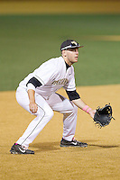 Wake Forest Demon Deacons third baseman Will Craig (22) on defense against the Duke Blue Devils at Wake Forest Baseball Park on April 25, 2014 in Winston-Salem, North Carolina.  The Blue Devils defeated the Demon Deacons 5-2.  (Brian Westerholt/Four Seam Images)