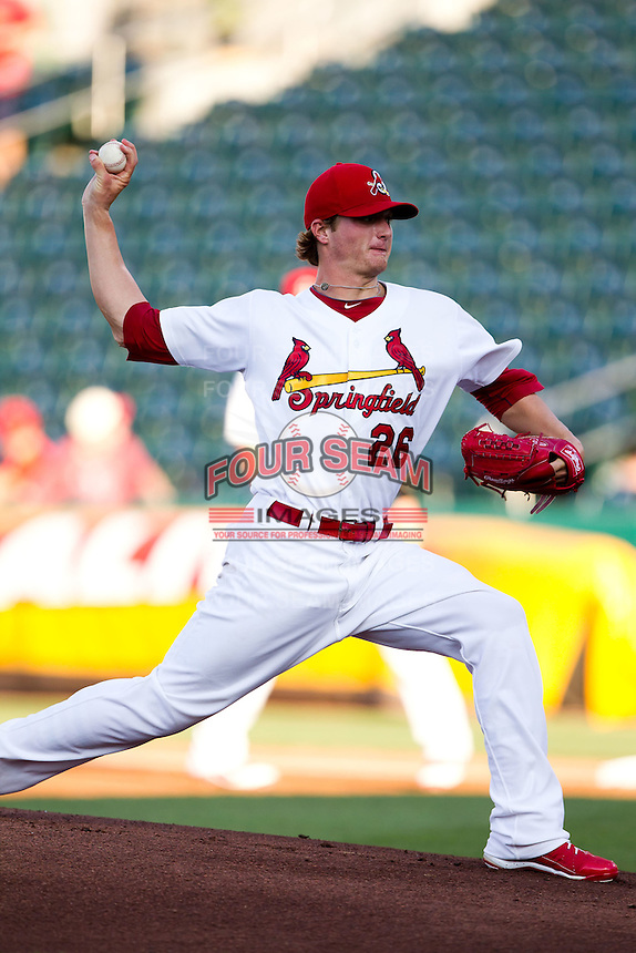 Shelby Miller (26) of the Springfield Cardinals delivers a pitch during a game against the Tulsa Drillers at Hammons Field on July 20, 2011 in Springfield, Missouri. Springfield defeated Tulsa 12-1. (David Welker / Four Seam Images)