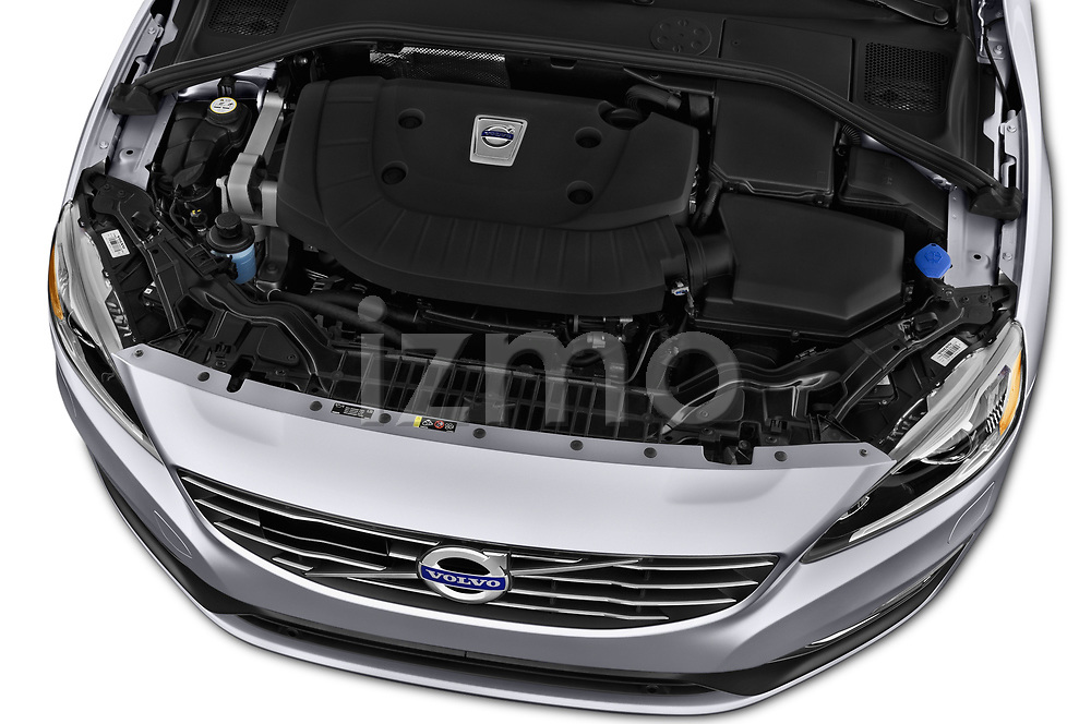 Car Stock 2018 Volvo S60 T5 4 Door Sedan Engine  high angle detail view