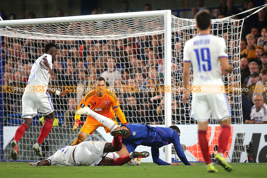 Ruben Loftus-Cheek of Chelsea falls to the ground after a challenge, but no penalty was given during Chelsea vs MOL Vidi, UEFA Europa League Football at Stamford Bridge on 4th October 2018